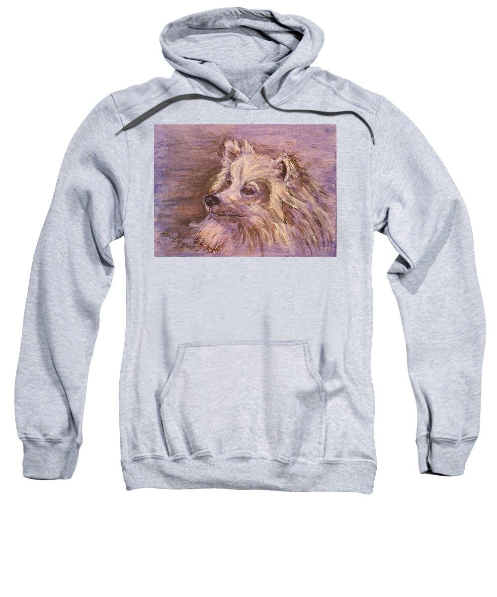 Dog Sweatshirt featuring the painting American Eskimo Dog by Geraldine Myszenski
