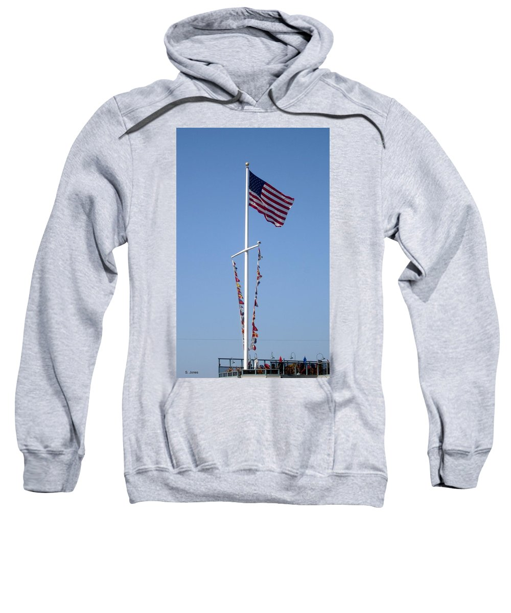 American Flag Sweatshirt featuring the photograph American Flag by Shelley Jones