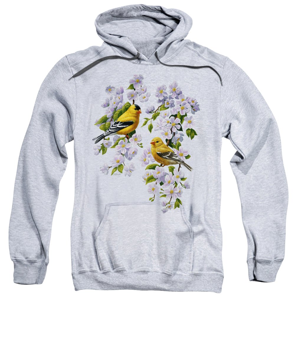 Bird Sweatshirt featuring the painting American Goldfinches and Apple Blossoms by Crista Forest