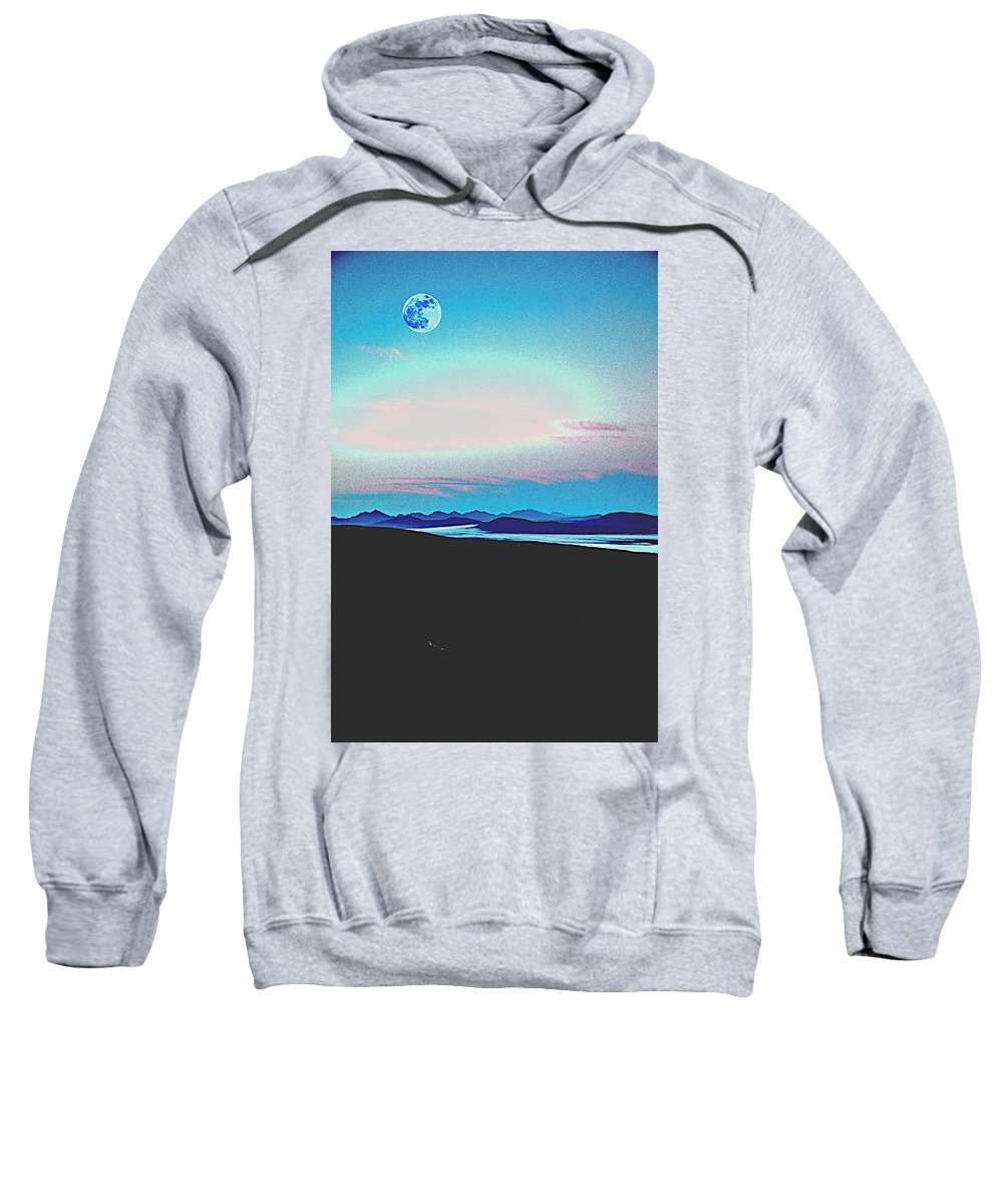 Nature Sweatshirt featuring the painting American Wilderness At Night by Celestial Images