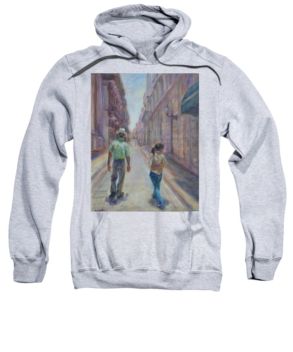 Quin Sweetman Sweatshirt featuring the painting Amigos En Havana by Quin Sweetman