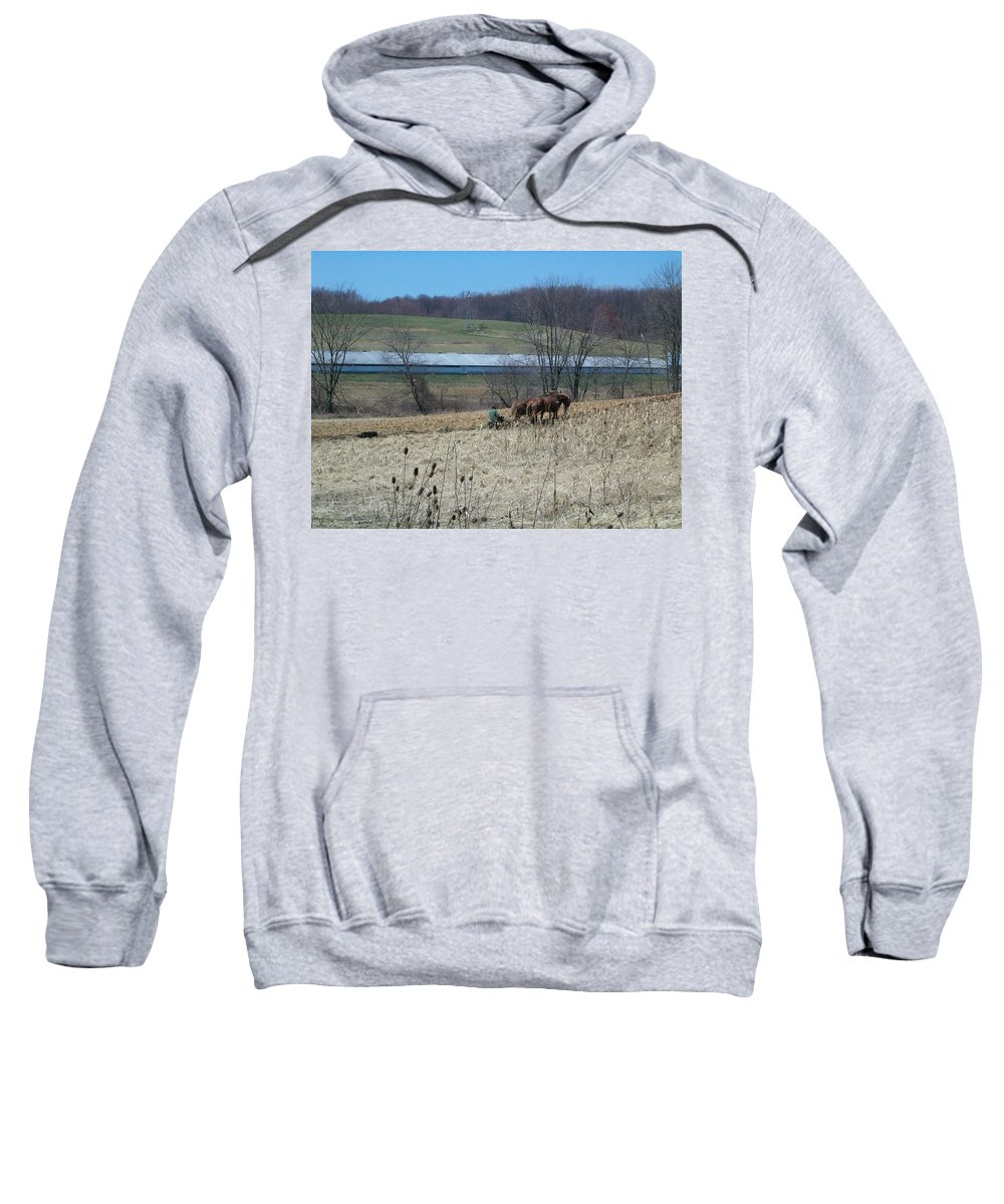 Plow Horse Sweatshirt featuring the photograph Amish Farming by Sara Raber