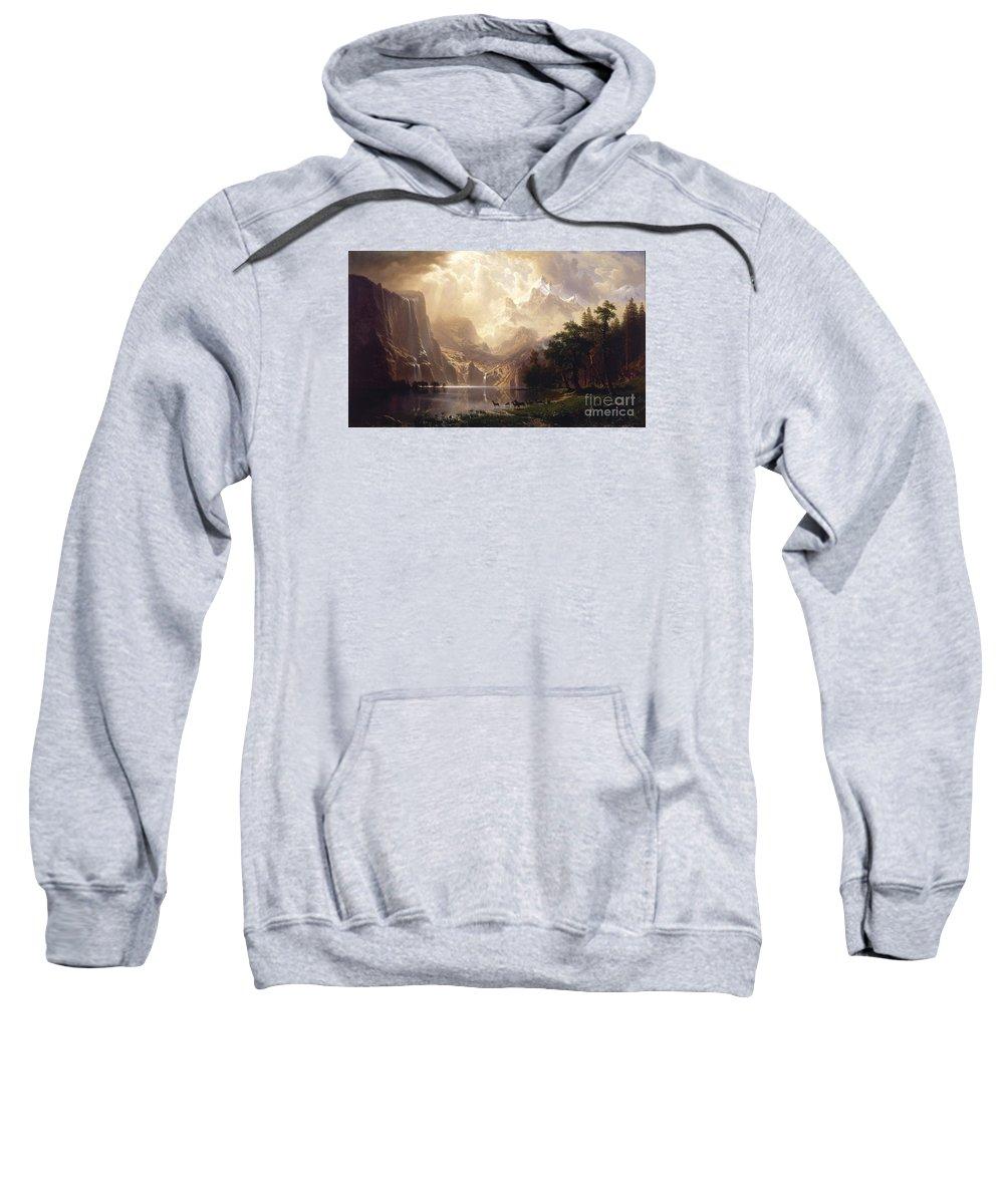 Albert_bierstadt_-_among_the_sierra_nevada Sweatshirt featuring the painting Among_the_sierra_nevada,_california by Celestial Images