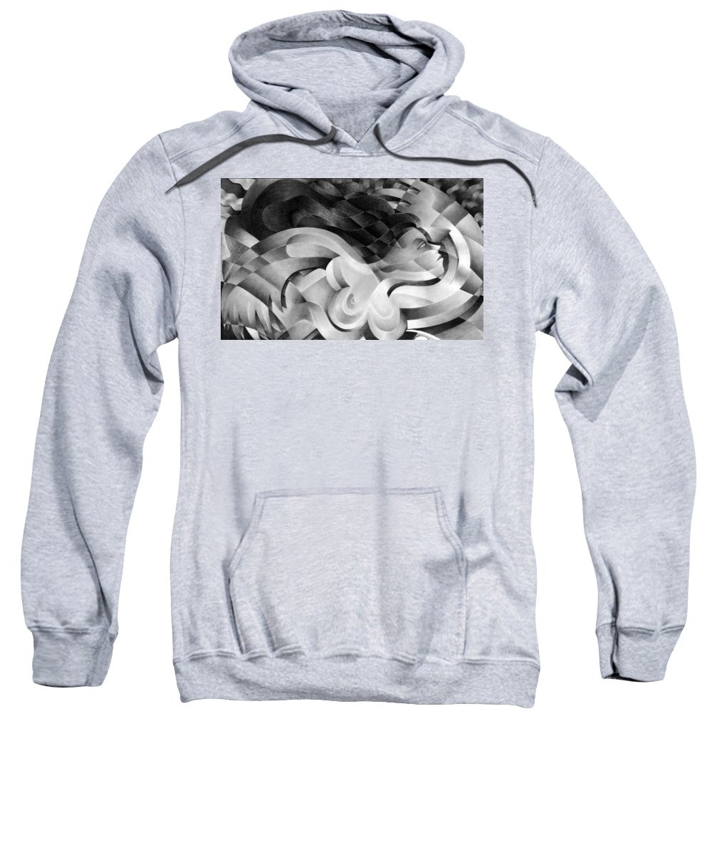 Art Sweatshirt featuring the drawing Amore by Myron Belfast