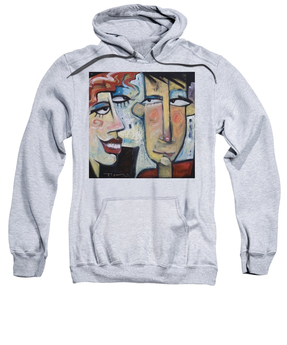 Man Sweatshirt featuring the painting An Uncomfortable Attraction by Tim Nyberg