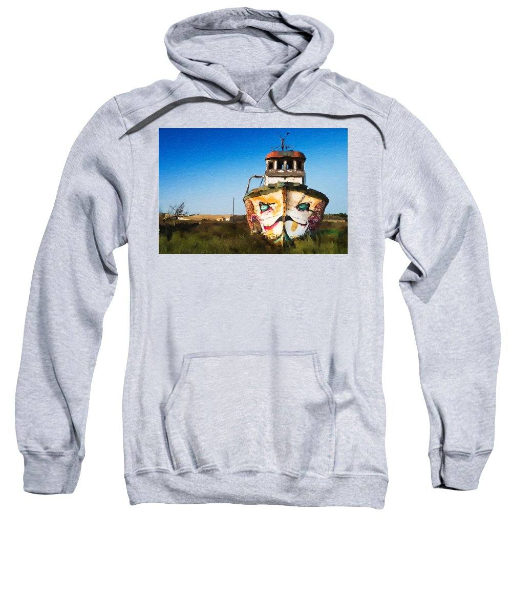 An-wooden-old-ship Sweatshirt featuring the painting An Wooden Old Ship 1 by Jeelan Clark