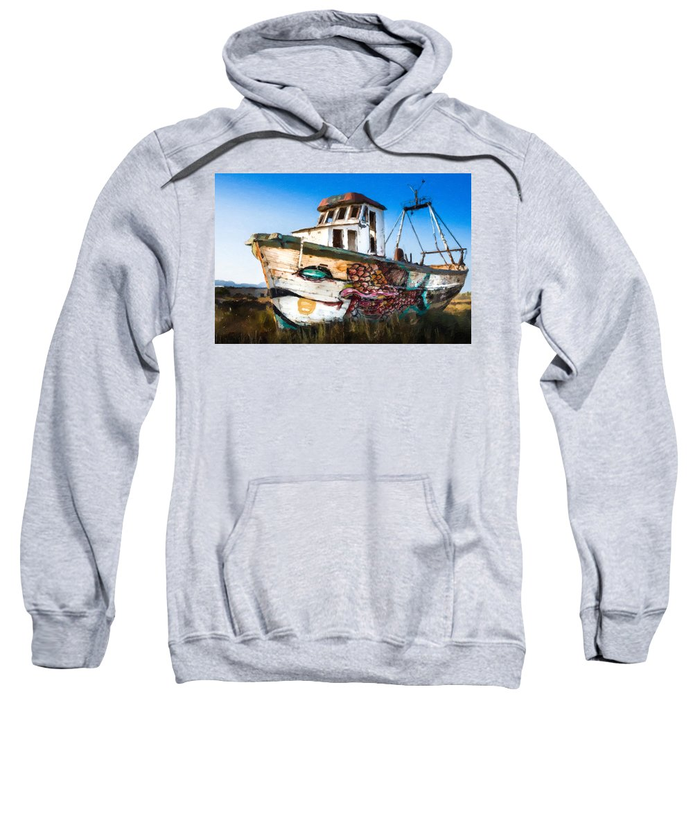 An-wooden-old-ship Sweatshirt featuring the painting An Wooden Old Ship 2 by Jeelan Clark