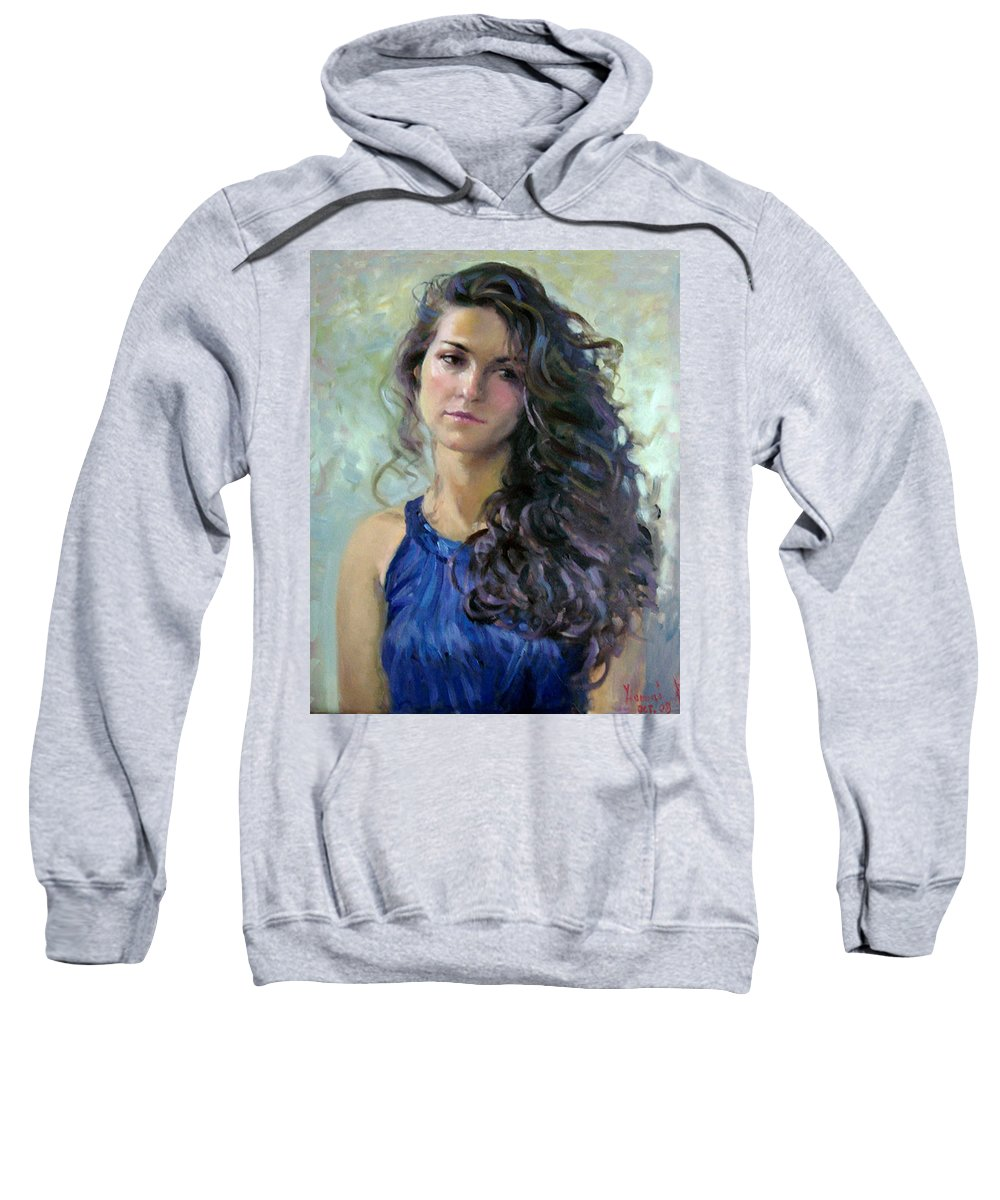 Portrait Sweatshirt featuring the painting Ana by Ylli Haruni