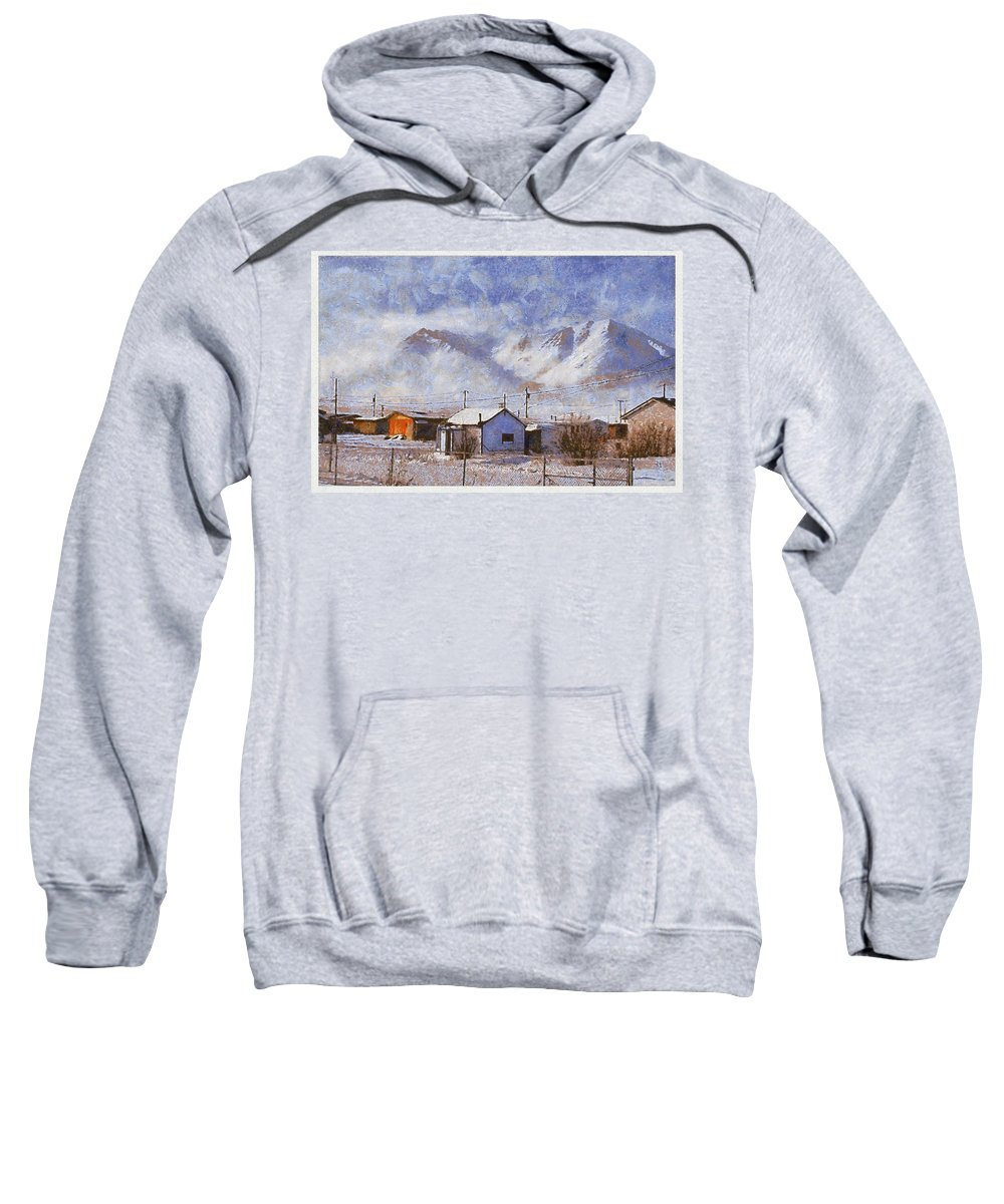 Anaktuvuk Eskimo Village Snow White House Mountain Sweatshirt featuring the photograph Anaktuvuk - Eskimo Village by Galeria Trompiz