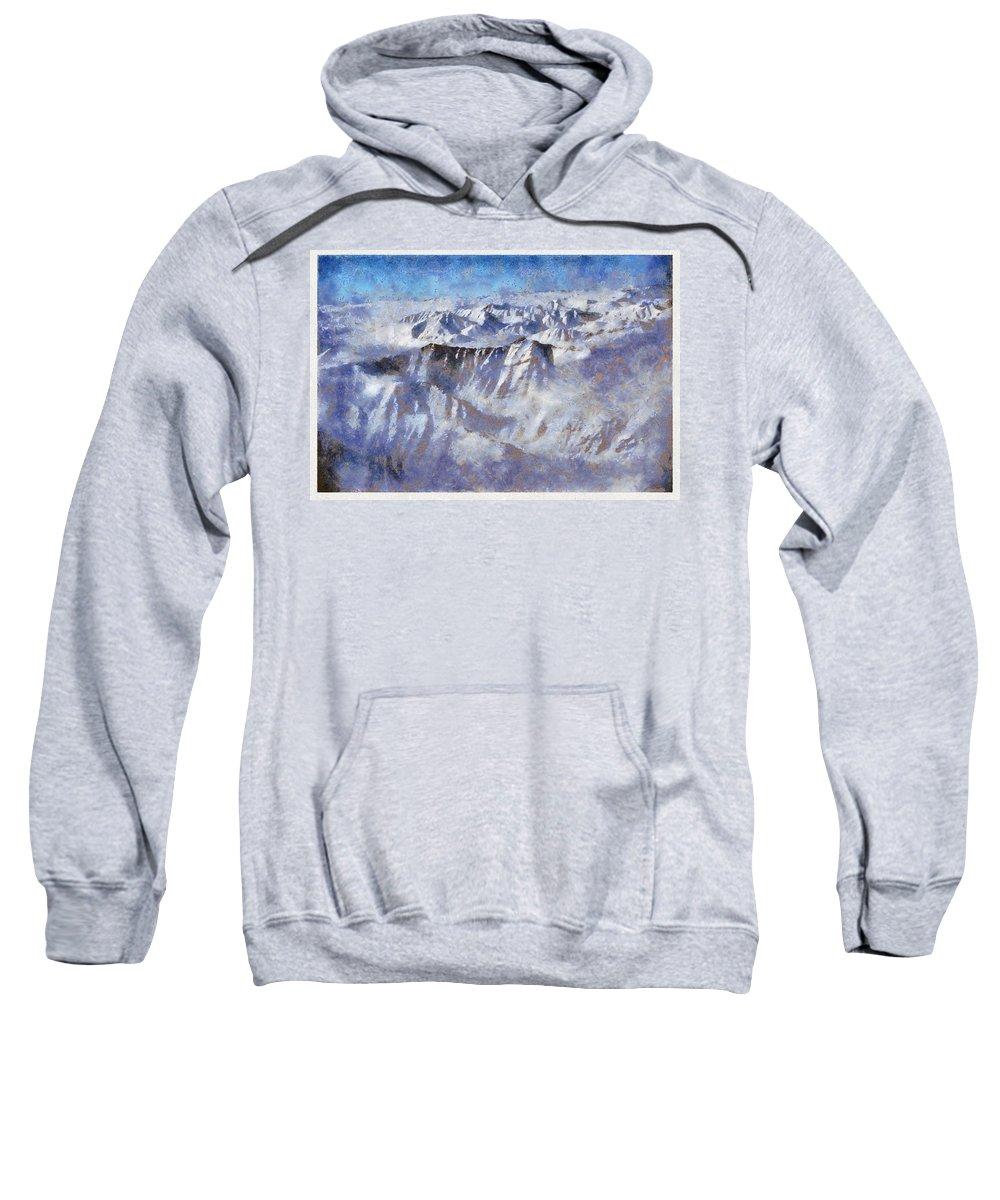 Anaktuvuk Pass Alaska Mountain Snow Flightseen Sweatshirt featuring the photograph Anaktuvuk Pass Alaska by Galeria Trompiz