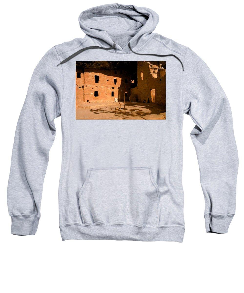Anasazi Sweatshirt featuring the painting Anasazi Kiva by David Lee Thompson