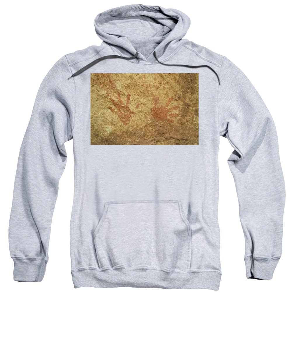 Anasazi Sweatshirt featuring the photograph Ancient Hands by Jerry McElroy