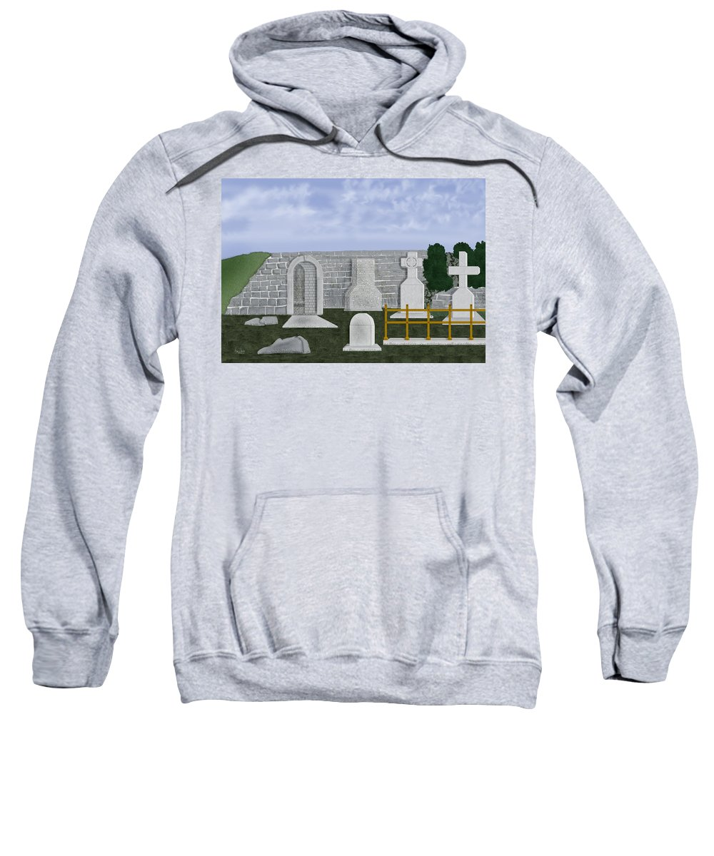 Ireland Sweatshirt featuring the painting Ancient Irish Stones Image 9577 The Beverlee Chronicles by Anne Norskog