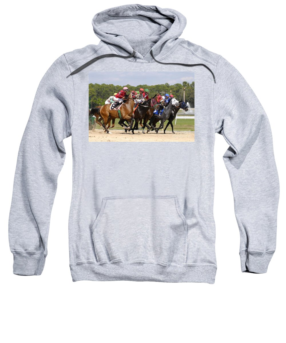Horse Racing Sweatshirt featuring the photograph And Their Off by David Lee Thompson