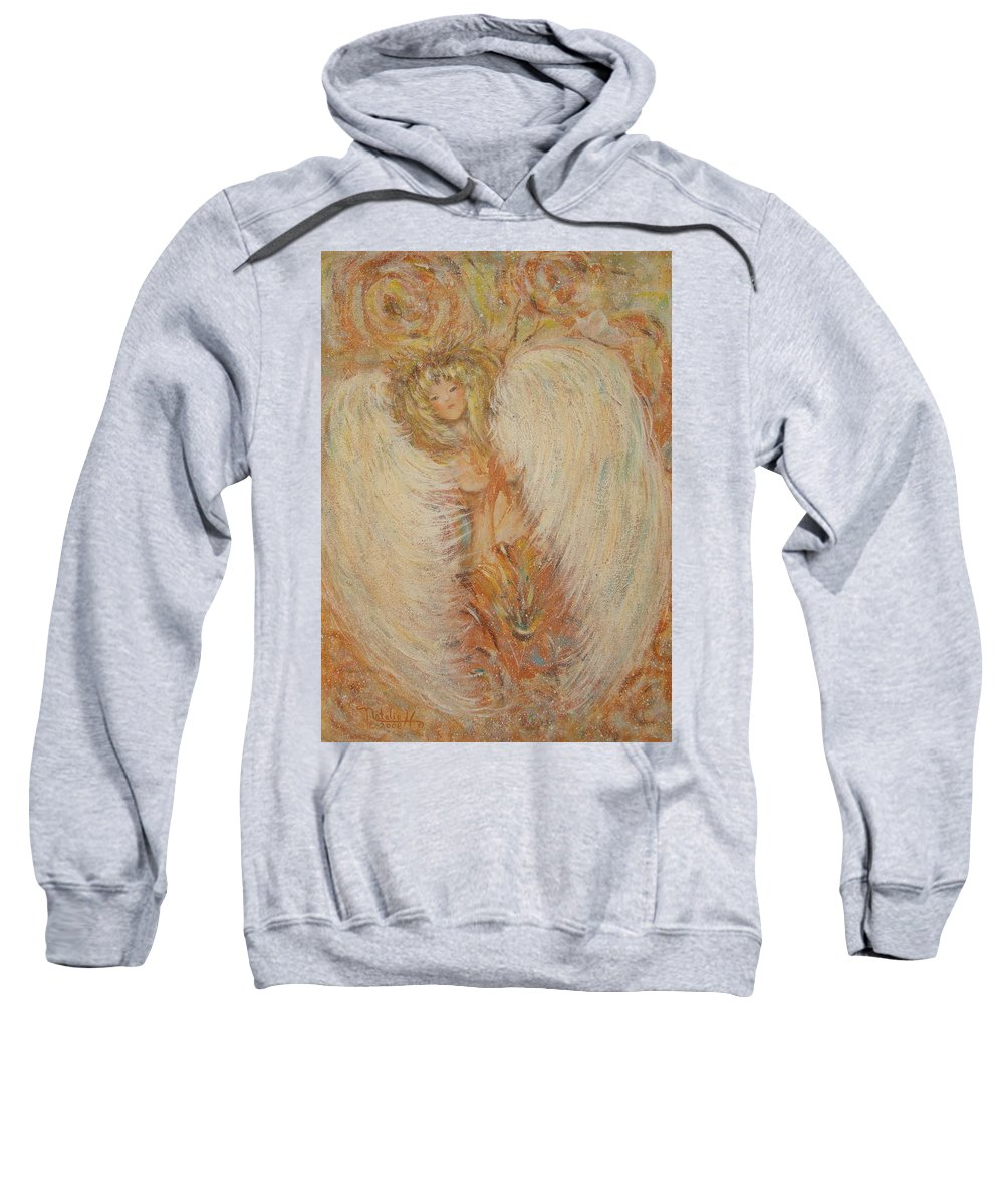 Angel Sweatshirt featuring the painting Angel Loves You by Natalie Holland
