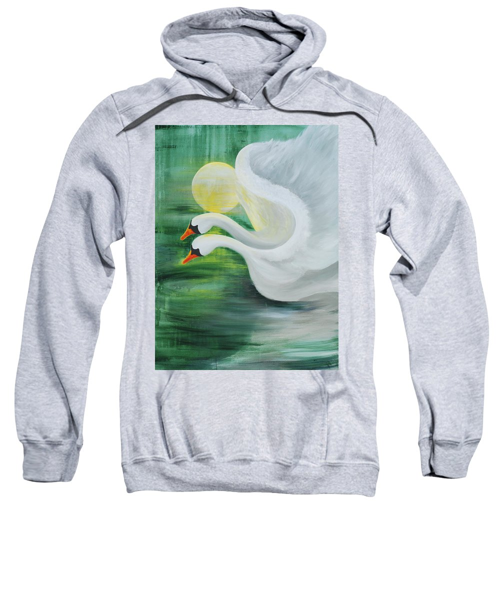 Angels Swans Sweatshirt featuring the painting Angel Swans by Catt Kyriacou