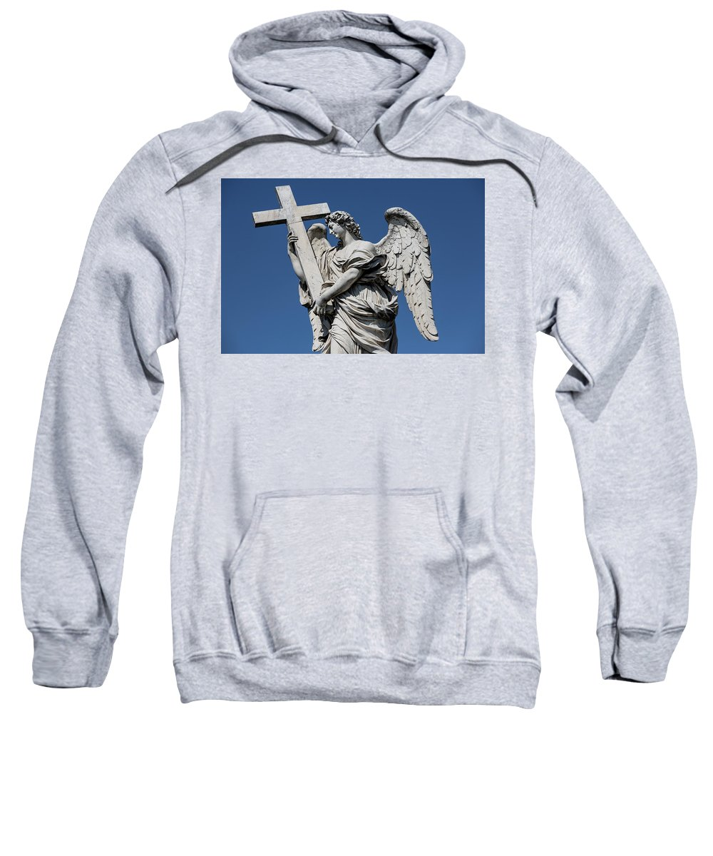 Rome Sculpture Statue Pont St�angelo Moon Night Europe European Italy Italia Rome Roma Roman Art History Historic Beautiful Style Romantic Romance Summer In Italy Landmark Monument Bridge Capital Tiber Angel With The Cross Ercole Ferrata Sweatshirt featuring the photograph Angel With The Cross by Michael Evans
