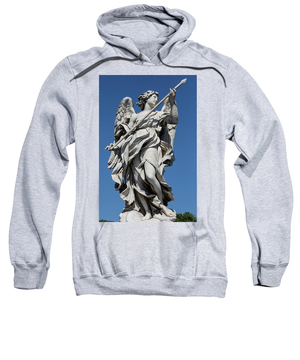 Rome Sculpture Statue Pont St�angelo Europe European Italy Italia Rome Roma Roman Art History Historic Beautiful Style Romantic Romance Summer In Italy Landmark Monument Bridge Capital Tiber Domenico Guidi Sweatshirt featuring the photograph Angel With The Lance by Michael Evans