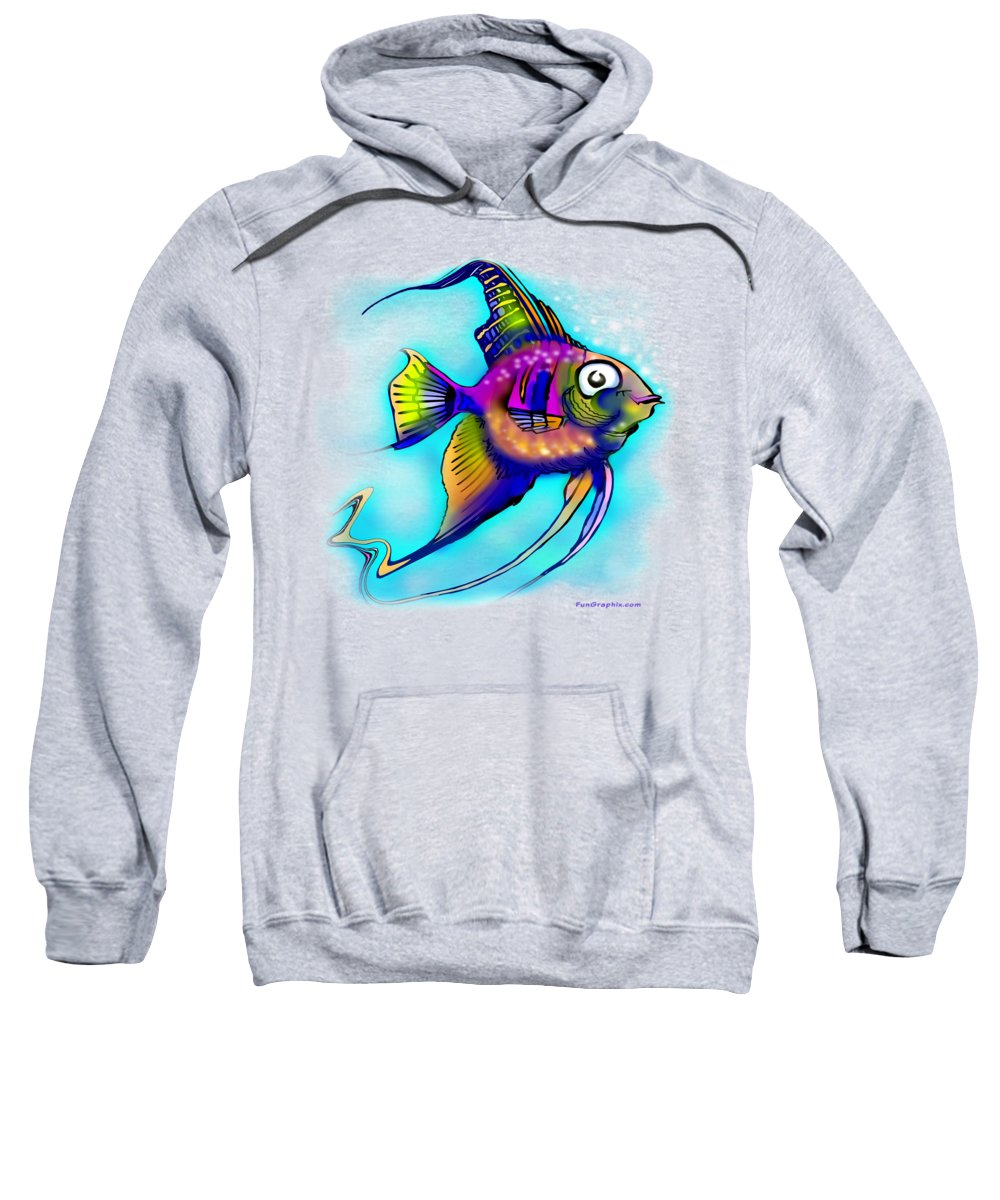 Angelfish Sweatshirt featuring the painting Angelfish by Kevin Middleton