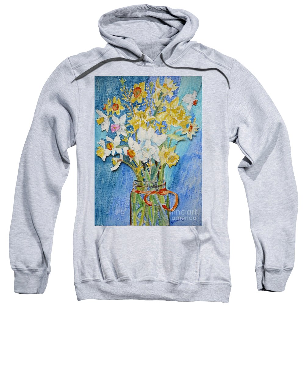 Flowers Sweatshirt featuring the painting Angels Flowers by Jan Bennicoff