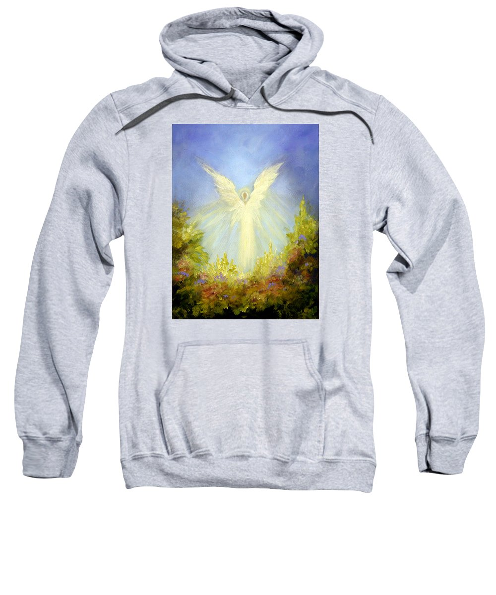 Angel Sweatshirt featuring the painting Angel's Garden by Marina Petro