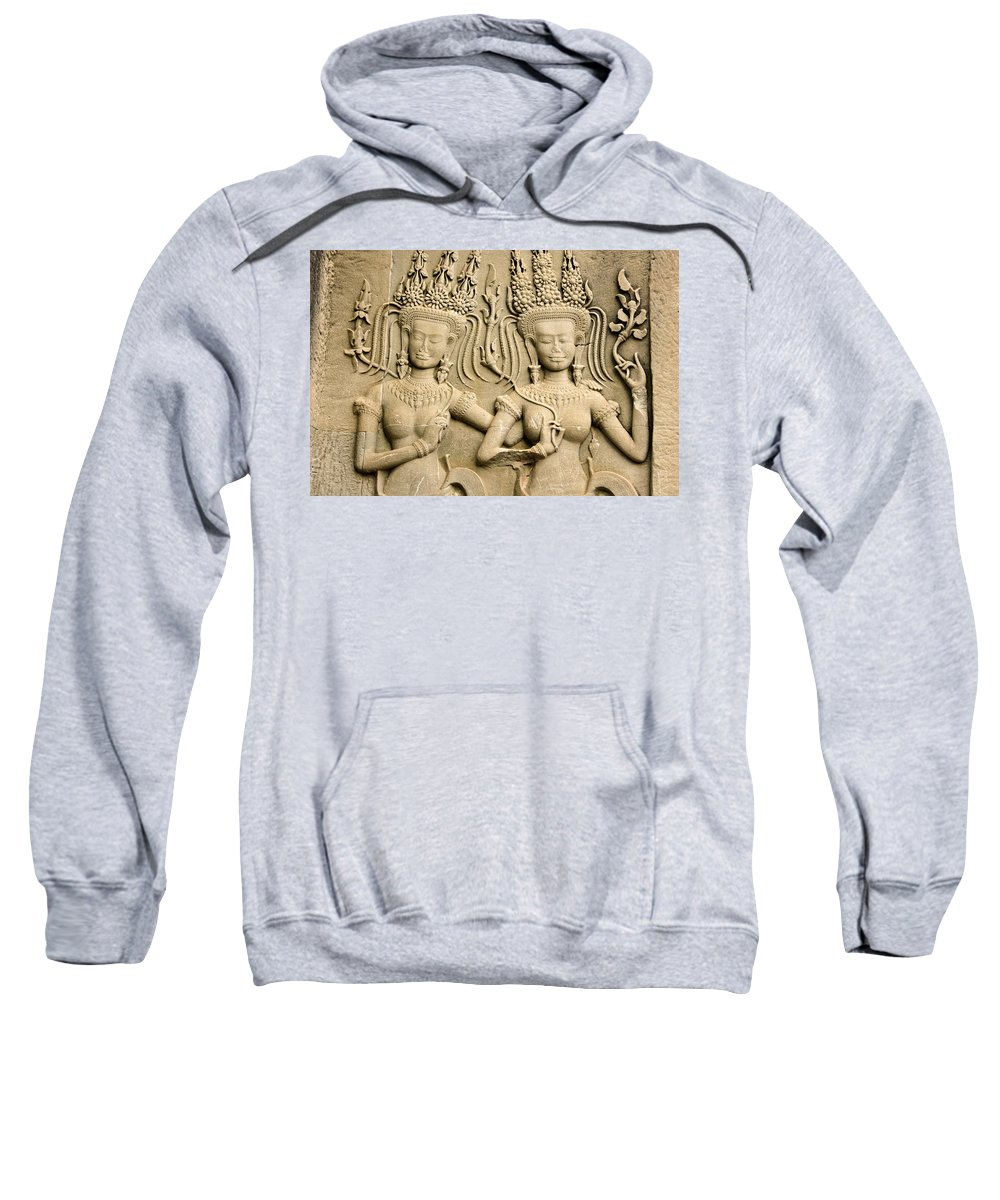 Asia Sweatshirt featuring the photograph Angkor Wat Relief by Michele Burgess
