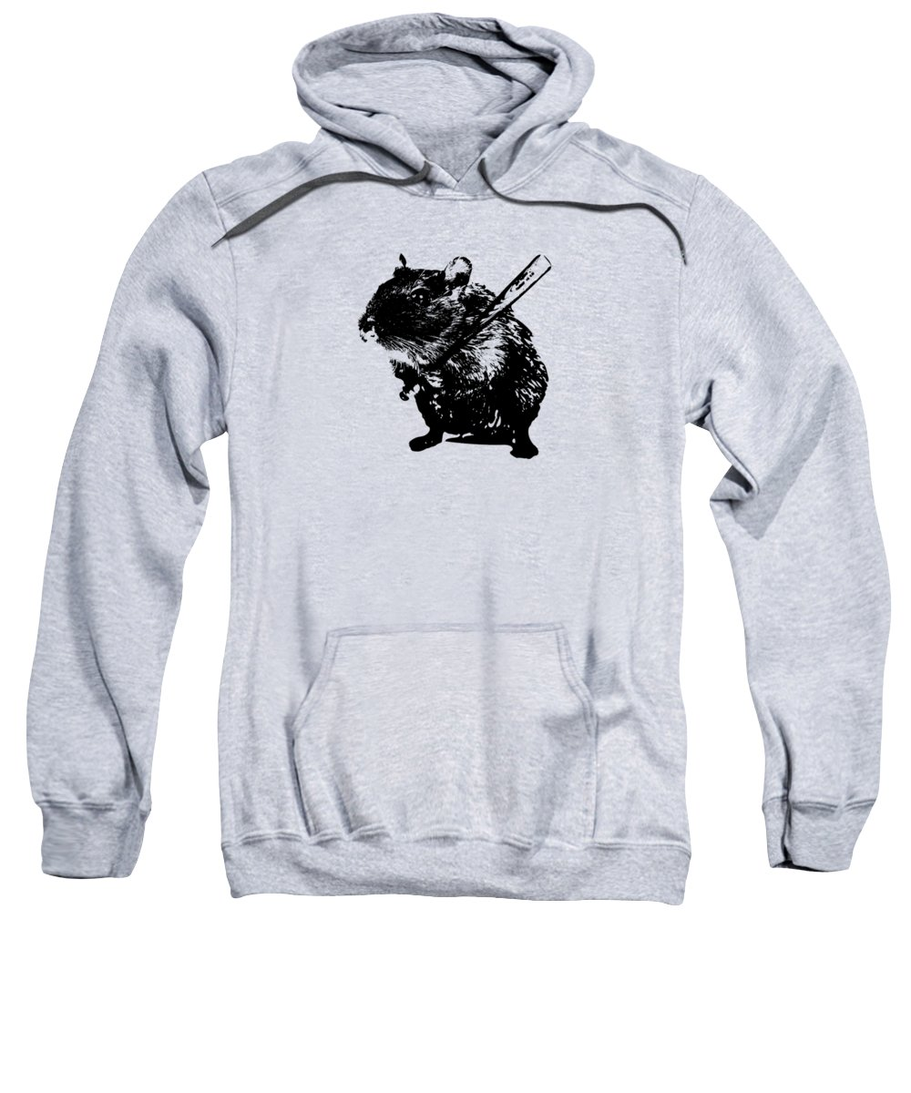 Cute Sweatshirt featuring the painting Angry Street Art Mouse Hamster Baseball Edit by Philipp Rietz