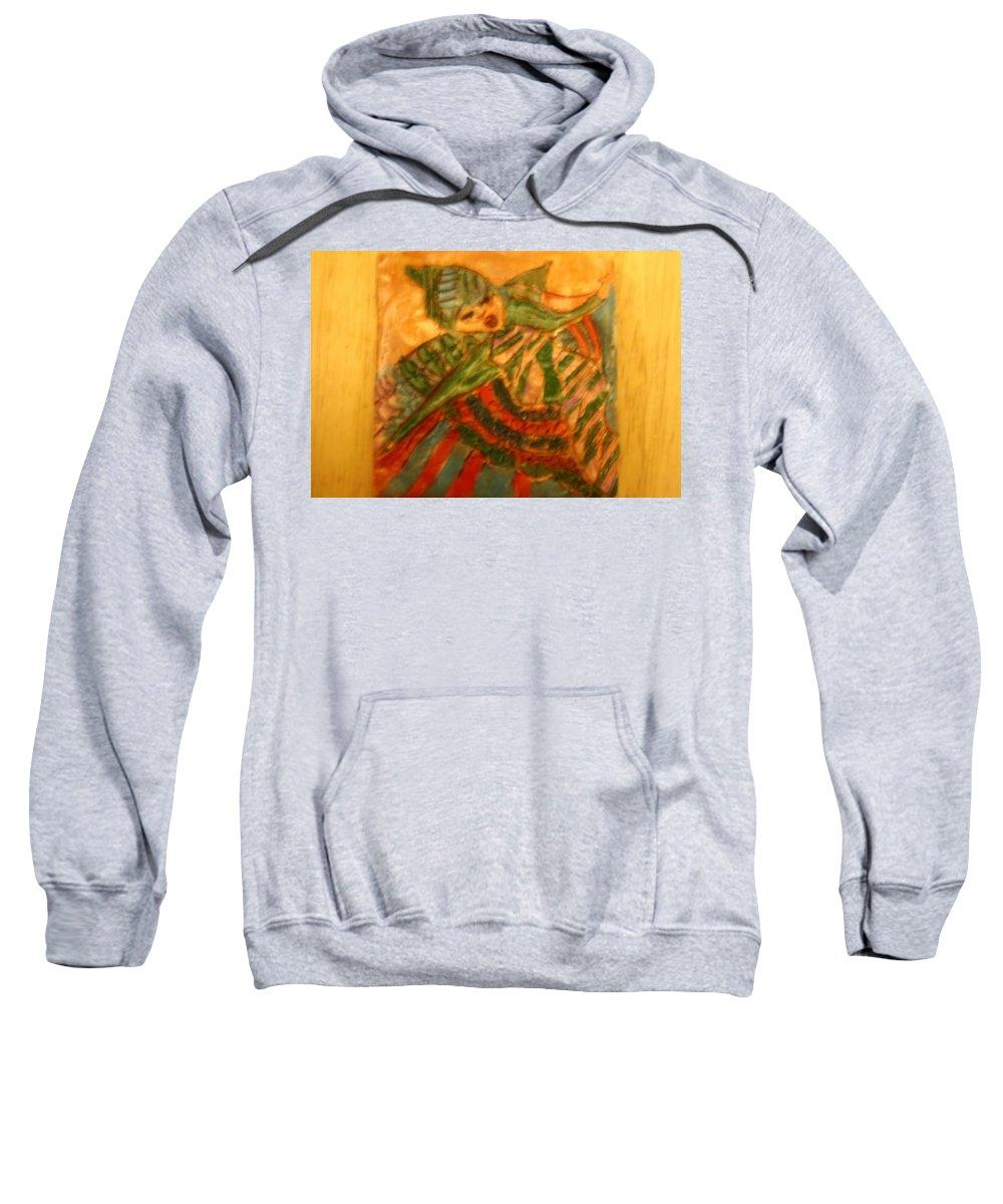 Jesus Sweatshirt featuring the ceramic art Anne - Tile by Gloria Ssali