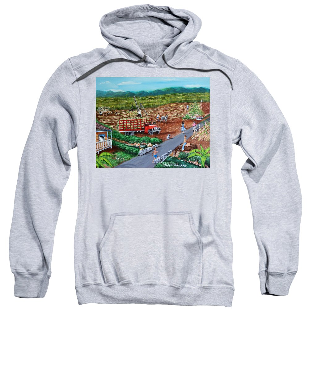 Sugarcane Field Sweatshirt featuring the painting Anoranzas by Luis F Rodriguez