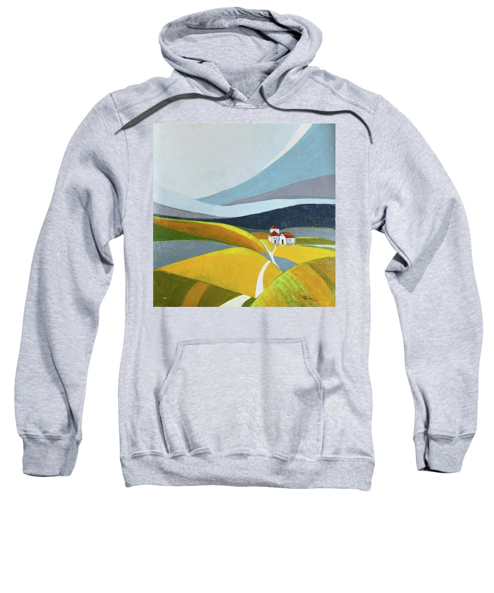 Landscape Sweatshirt featuring the painting Another Day On The Farm by Aniko Hencz
