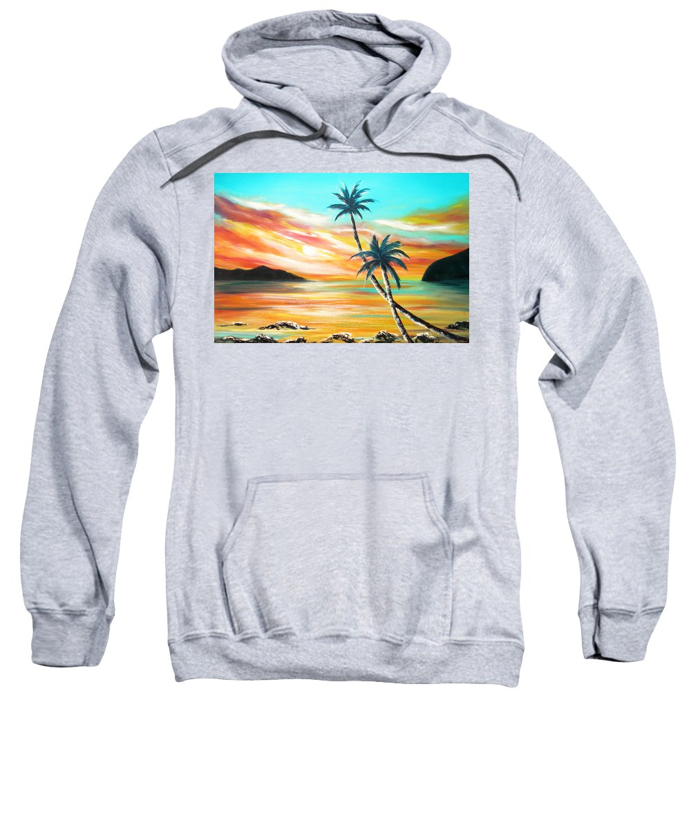 Sunset Sweatshirt featuring the painting Another Sunset In Paradise by Gina De Gorna
