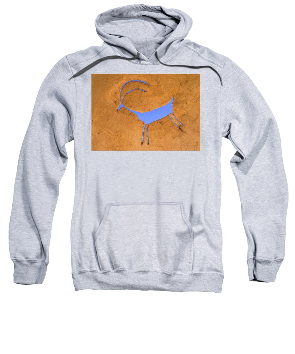 Anasazi Sweatshirt featuring the photograph Antelope Petroglyph by Jerry McElroy