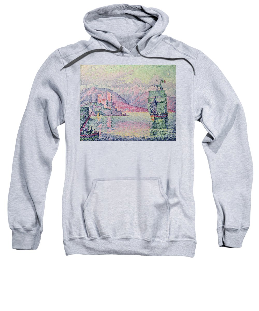 Antibes Sweatshirt featuring the painting Antibes by Paul Signac