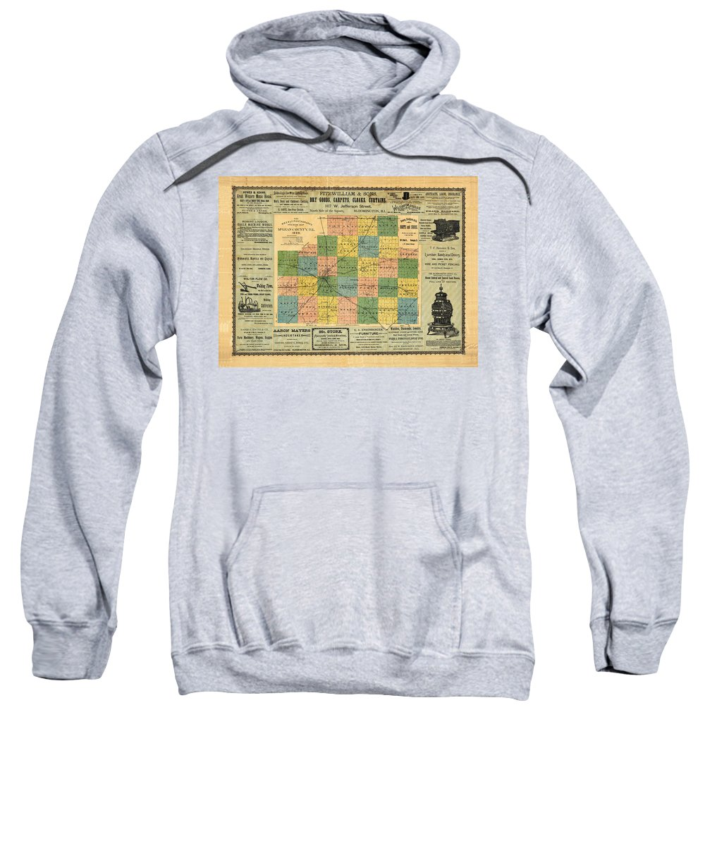 Antique Map Of The Mclean Sweatshirt featuring the drawing Antique Map Of The Mclean County - Business Advertisements - Historical Map by Studio Grafiikka