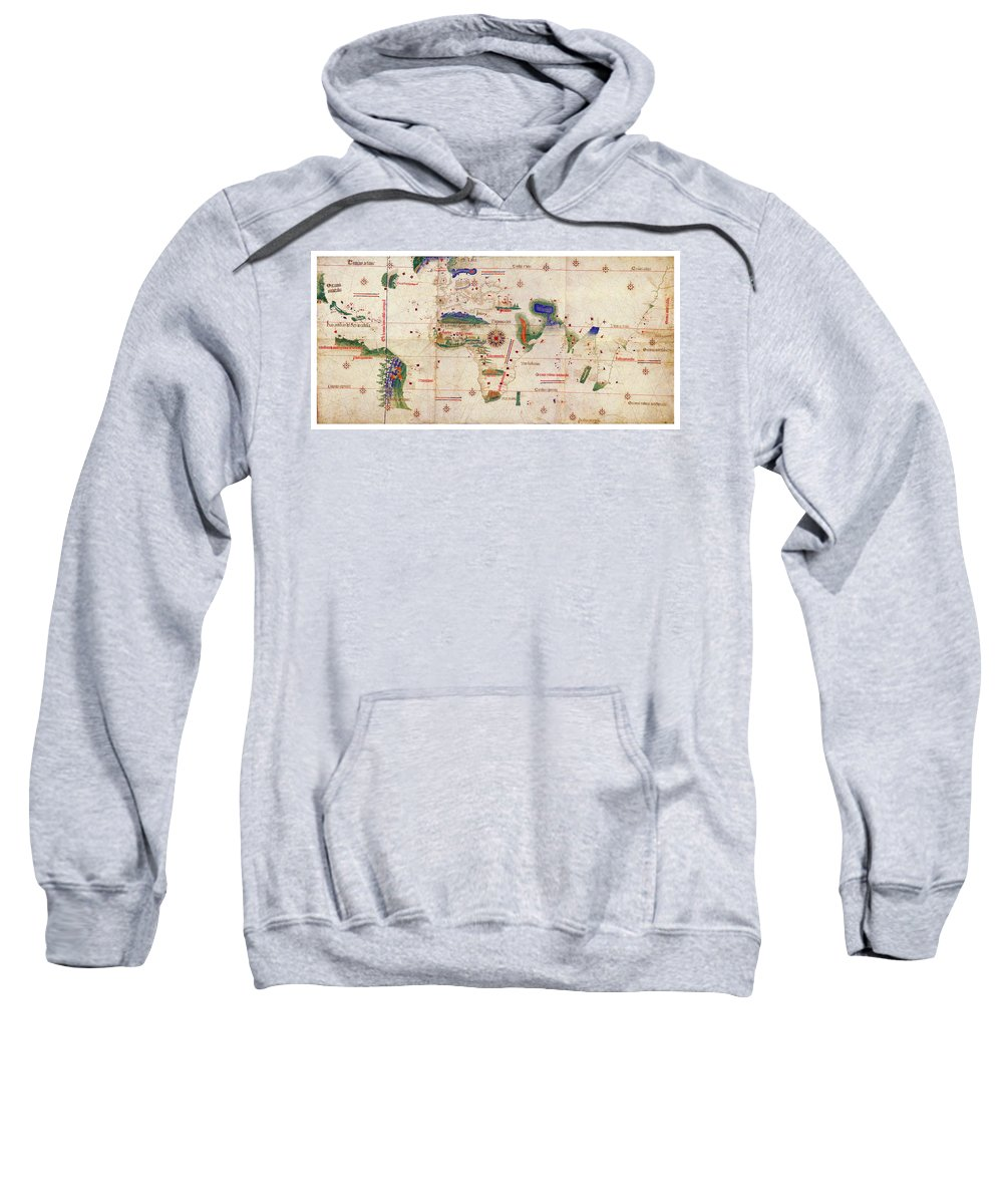 Antique Map Of The World Sweatshirt featuring the drawing Antique Maps - Old Cartographic Maps - Antique Map Of The World, 1502 by Studio Grafiikka