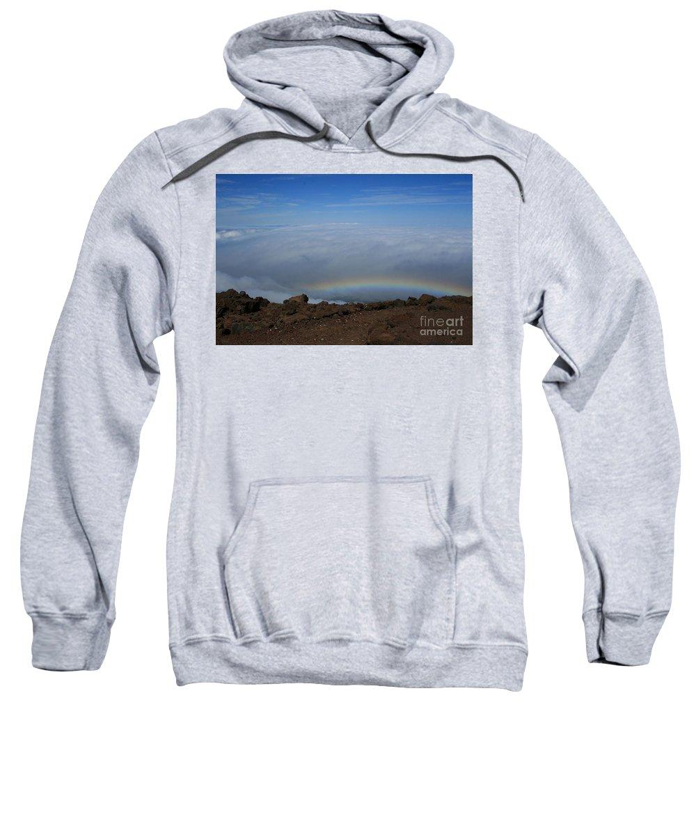 Aloha Sweatshirt featuring the photograph Anuenue - Rainbow At The Ahinahina Ahu Haleakala Sunrise Maui Hawaii by Sharon Mau