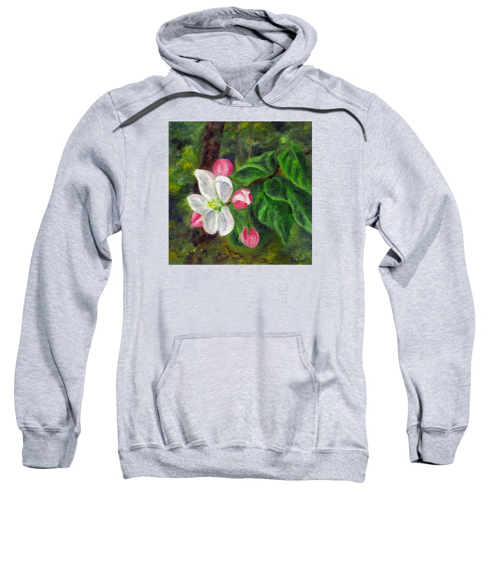 Apple Sweatshirt featuring the painting Apple Blossoms by FT McKinstry