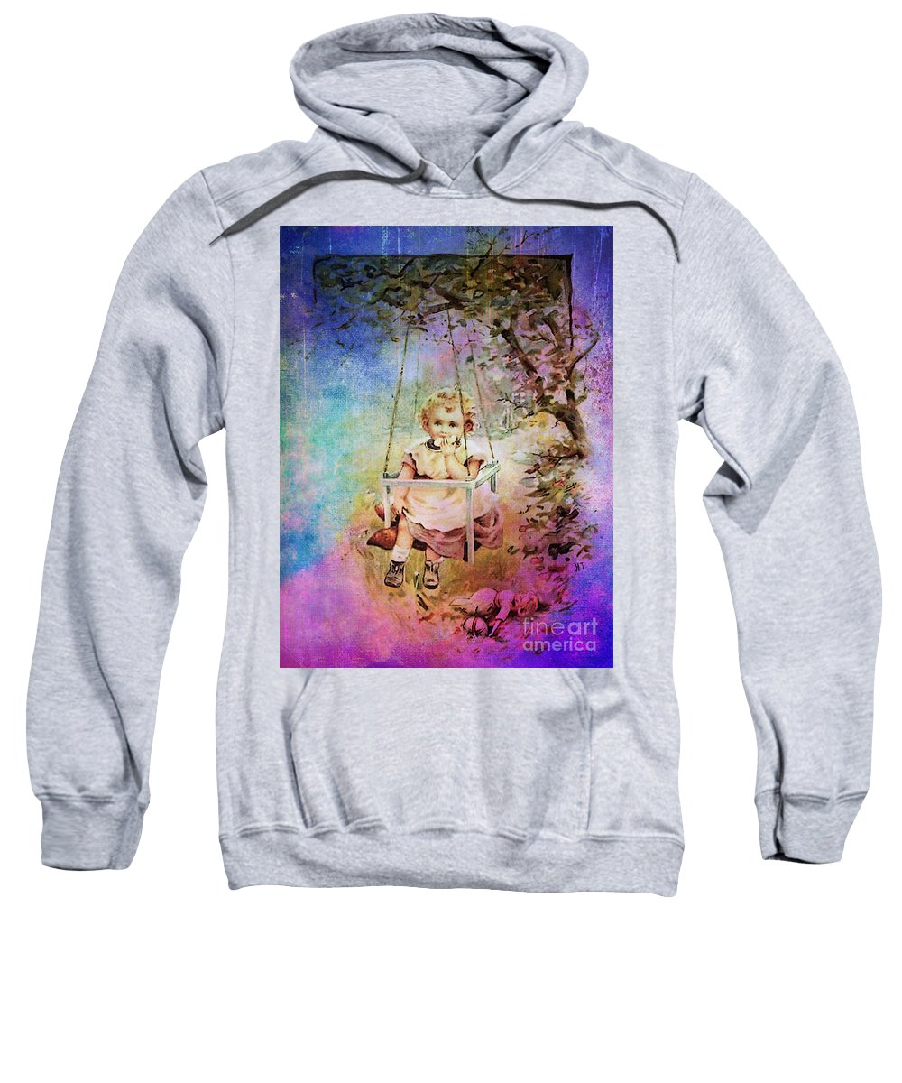 Child Toddler Girl Childhood Tree Swing Doll Snack Vintage Blue Purple Green Sweatshirt featuring the mixed media Apple Slice Under The Tree by Tammera Malicki-Wong