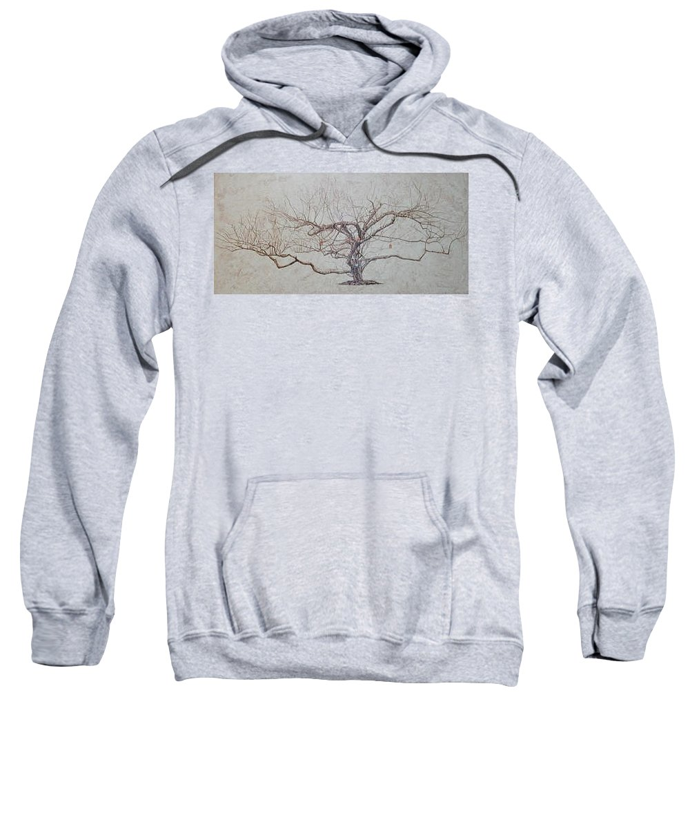Apple Tree Sweatshirt featuring the painting Apple Tree In Winter by Leah Tomaino