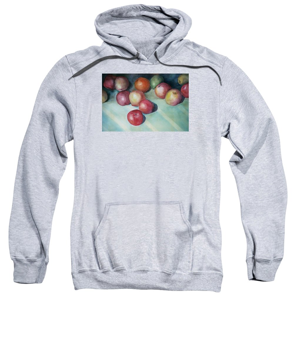 Orange Sweatshirt featuring the painting Apples And Orange by Jun Jamosmos
