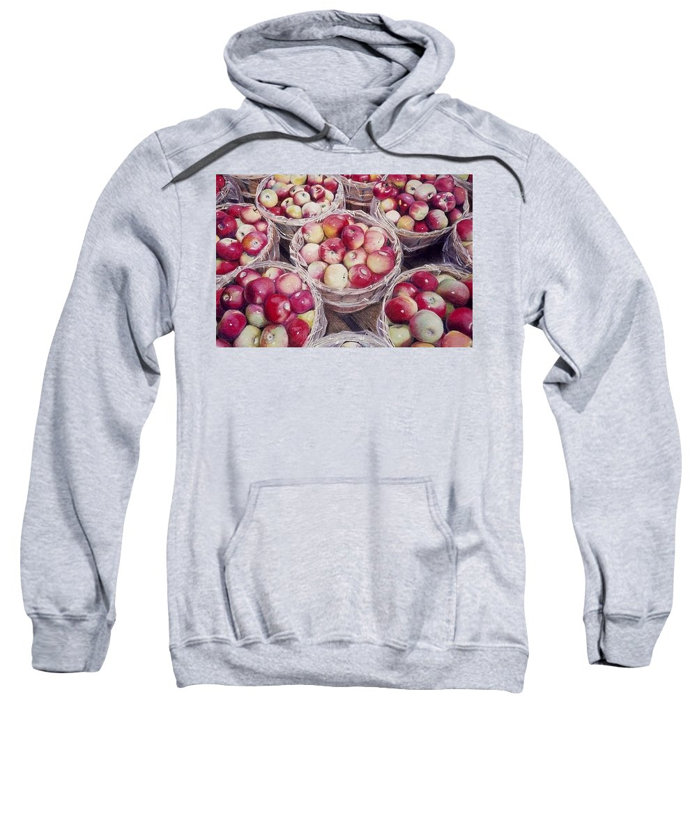 Red Sweatshirt featuring the painting Apples by Constance Drescher