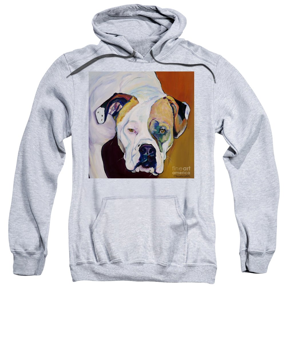 Pet Portraits Sweatshirt featuring the painting Apprehension by Pat Saunders-White