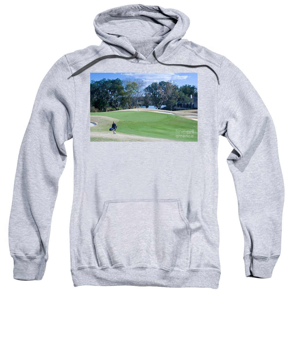 Golf Sweatshirt featuring the photograph Approaching The 18th Green by Thomas Marchessault