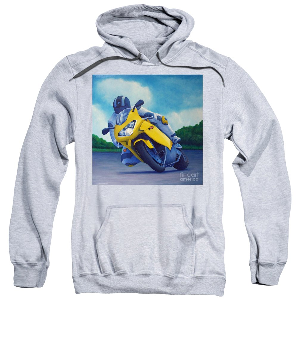 Motorcycle Sweatshirt featuring the painting Aprilla - Tuesday Afternoon by Brian Commerford