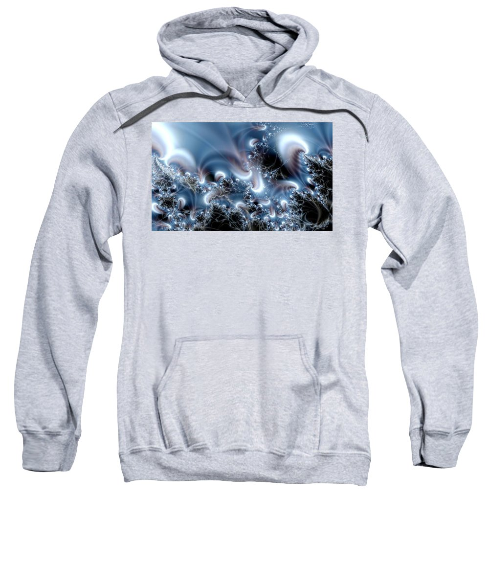 Water Bubbles Blue Nature Flow Sweatshirt featuring the digital art Aquafractal by Veronica Jackson