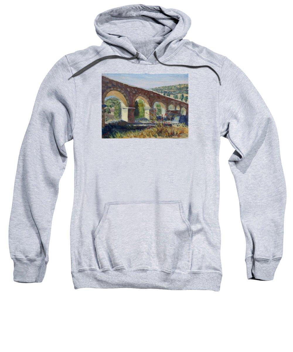 Aqueduct Sweatshirt featuring the painting Aqueduct Near Pedraza by Elena Sokolova