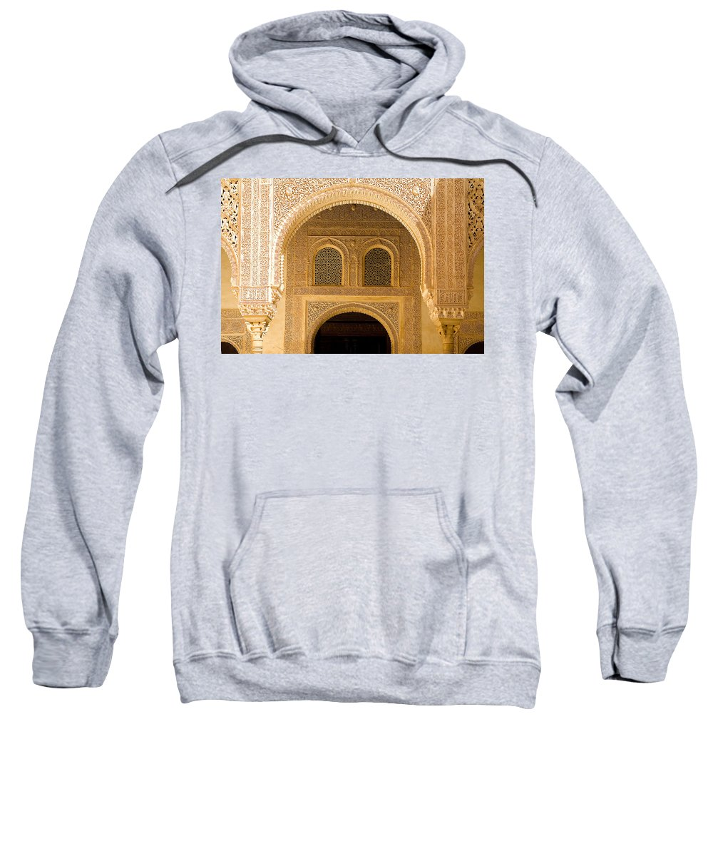 Cuarto Sweatshirt featuring the photograph Arabesque Ornamental Designs At The Casa Real In The Nasrid Palaces At The Alhambra by Mal Bray