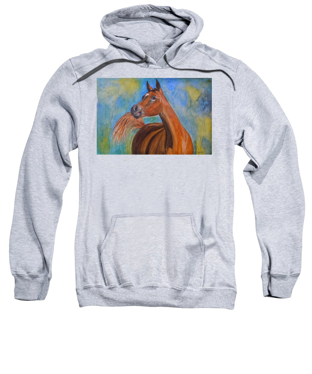 Horse Sweatshirt featuring the painting Arabian Beauty by Jean Blackmer