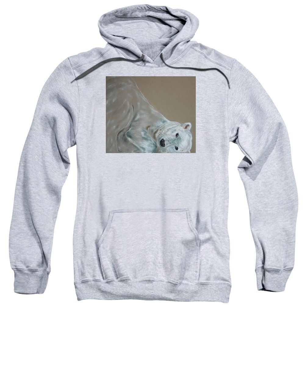 Polar Bear Sweatshirt featuring the drawing Arctic Frolic by Cori Solomon