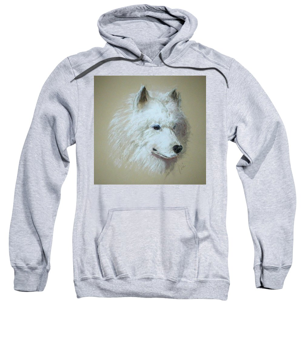 Dog Sweatshirt featuring the drawing Arctic Serenity by Cori Solomon